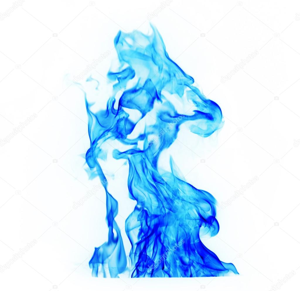 blue Fire flames on white background — Stock Photo ...