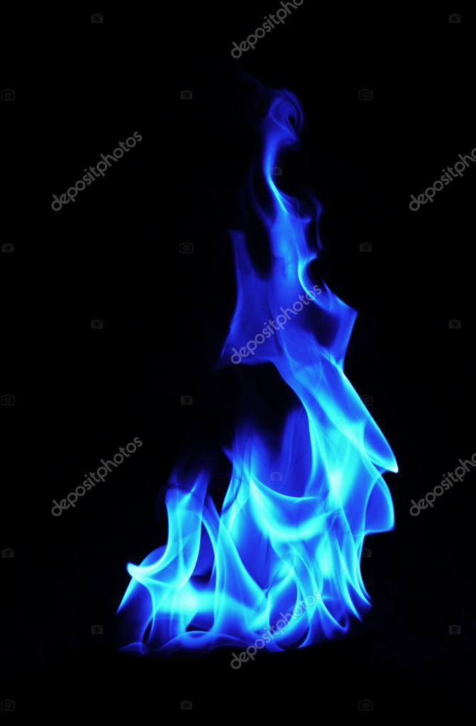 Fiamme Di Fuoco Blu Su Sfondo Nero Foto Stock Trybex 64396727