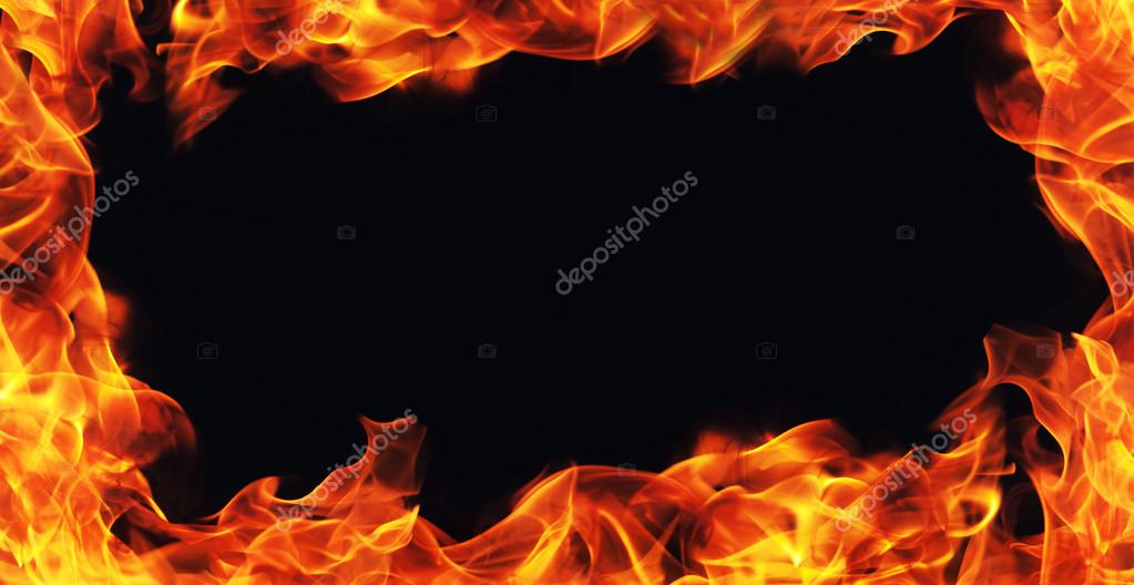 The Gallery For Flaming Football Background Images: Burning Fire Flame Frame On Black Background