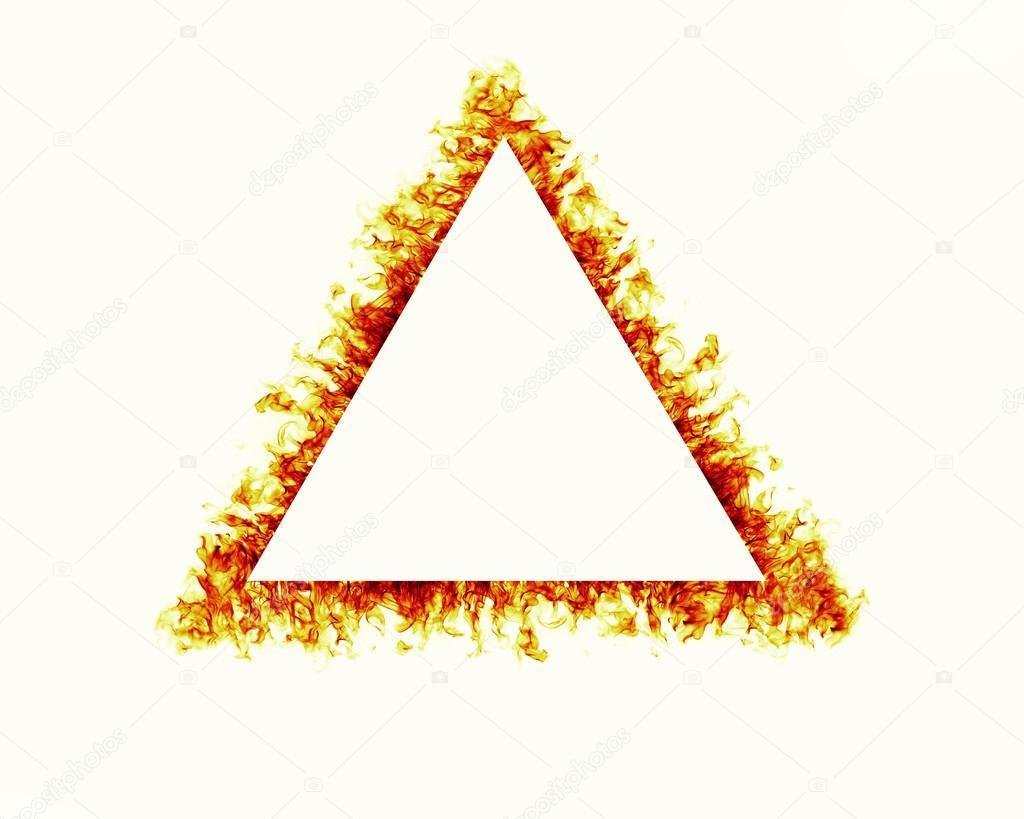 triángulo de fuego marco de llamas sobre fondo blanco — Fotos de ...