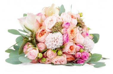 Beautiful bouquet of flowers isolated on white background