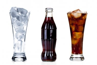 Bottle of cola with two glasses isolated on white