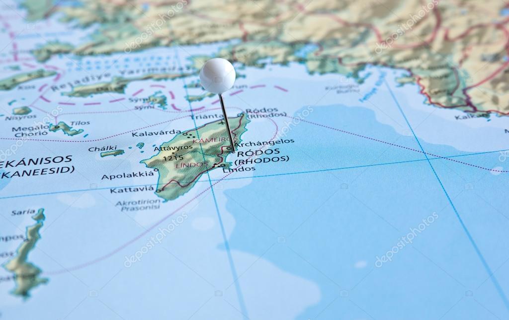 Isla De Rodas Mapa.Pin En El Mapa Con La Isla De Rodas Foto De Stock C Eans