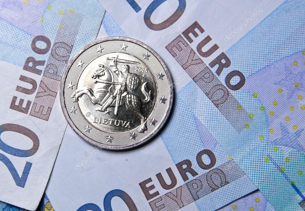 2 Euro Münze Von Litauen Stockfoto 61586053