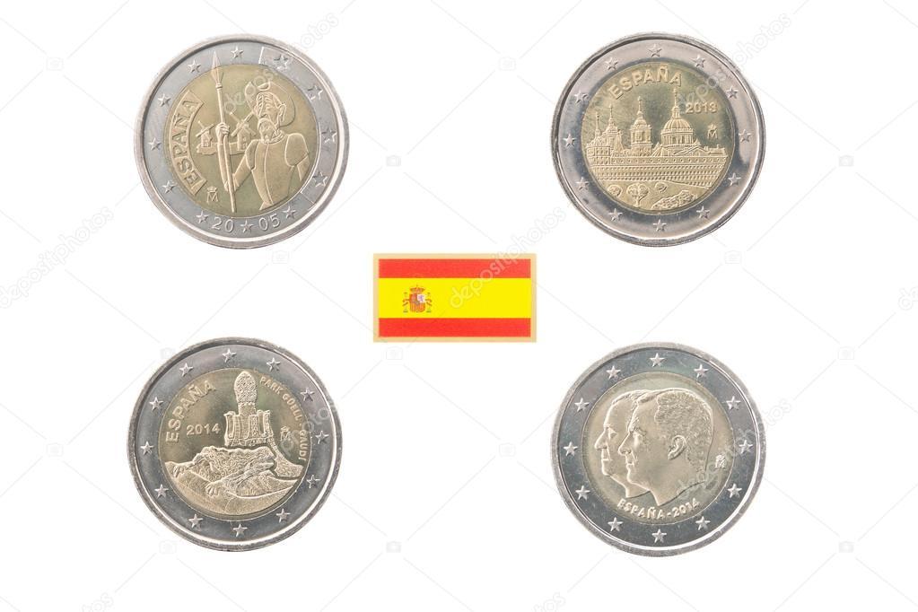 Festlegen Der Gedenkmünzen 2 Euro Münzen Von Spanien Stockfoto