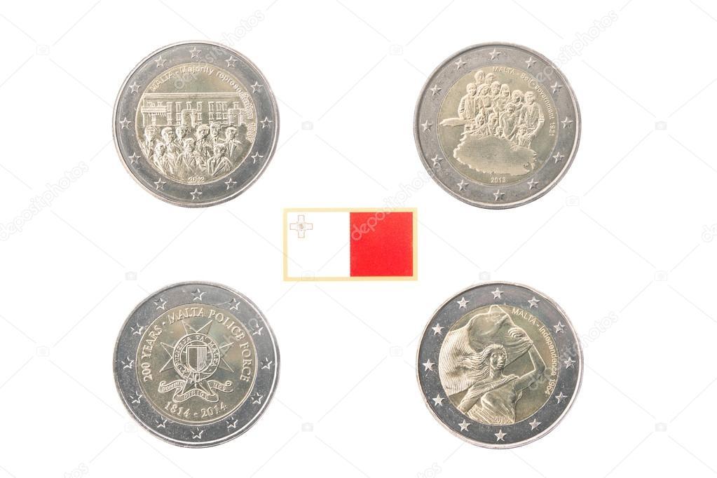 Festlegen Der Gedenkmünzen 2 Euro Münzen Von Malta Stockfoto