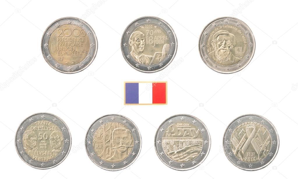 Festlegen Der Gedenkmünzen 2 Euro Münzen Aus Frankreich Stockfoto