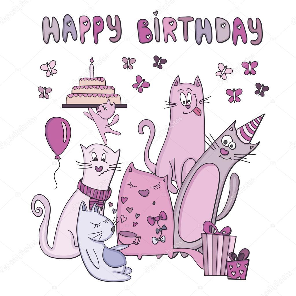 roligt födelsedagskort Födelsedagskort med roliga katter — Stock Vektor © sntpzh #66722655 roligt födelsedagskort