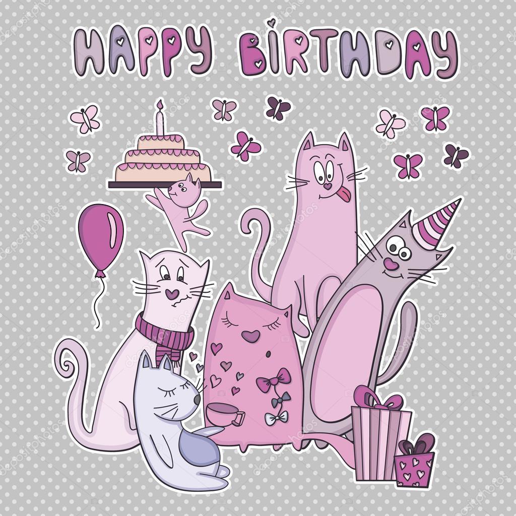 Прикольные картинки с днем рождения поздравления с кошками