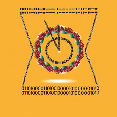 Illustration watch Morse code and binary