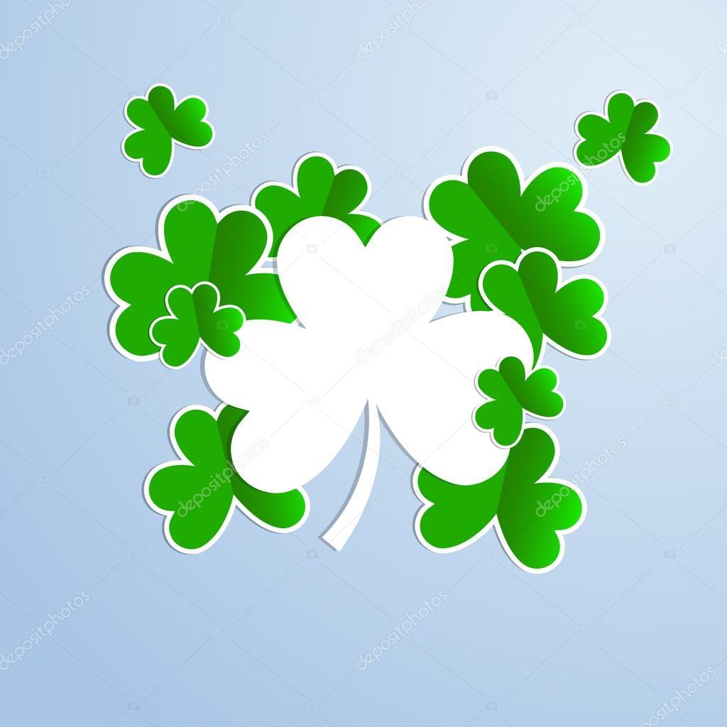 Tarjeta con un trébol para unas vacaciones. Día de St Patrick ...