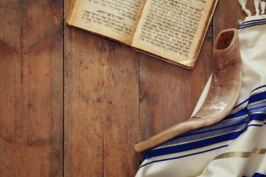 Prayer Shawl - Tallit and Shofar (horn) jewish religious symbol.