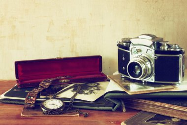 Old camera, antique photographs