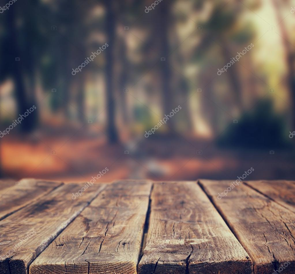 Фотообои Image of front rustic wood boards and background of trees in forest. image is retro toned