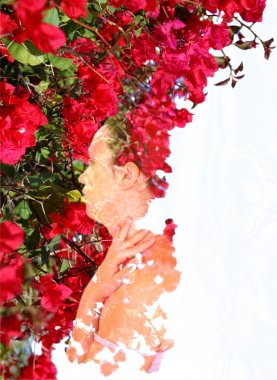 Double exposure of red flowers in the beautiful young woman