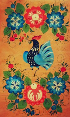 Traditional russian decorative wooden board. Painting with floral and peacock ornament