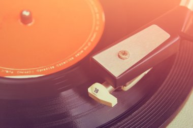 Close up image of old record player. selective focus