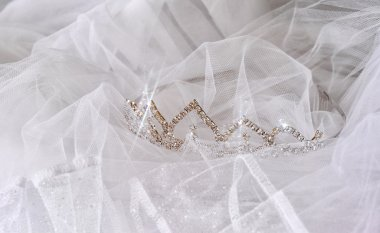 Wedding vintage crown of bride and veil. wedding concept
