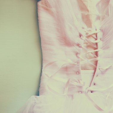 Vintage wedding dress corset background. wedding concept. filtered image