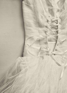 Vintage wedding dress corset background. wedding concept. black and white photo