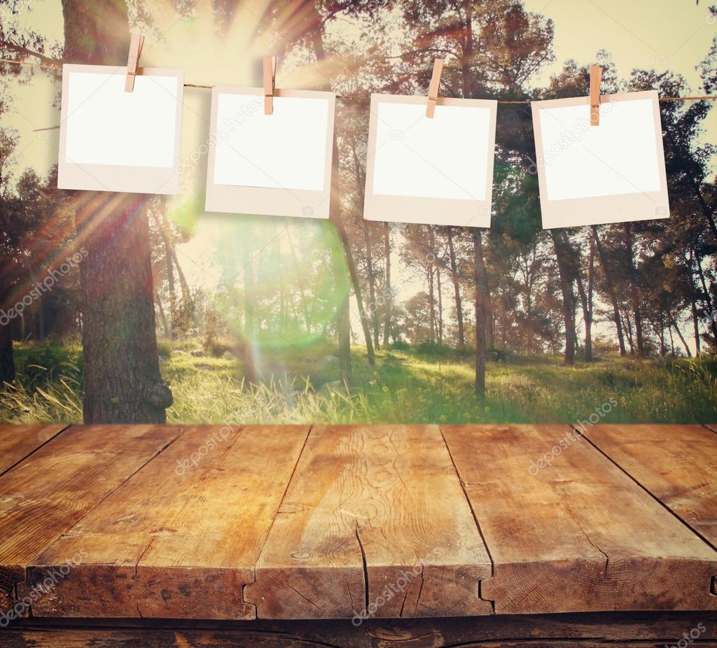 초록 숲 풍경 앞에 빈티지 나무 보드 테이블 함께 밧줄에 매달려 ...