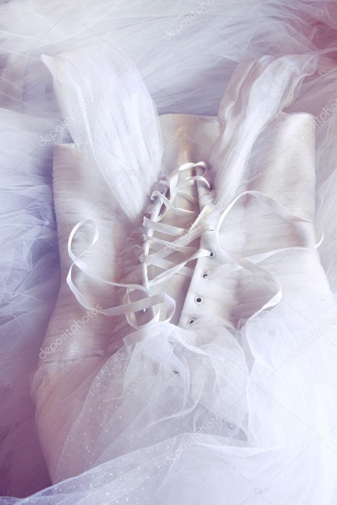Vintage Hochzeit Kleid Korsett Hintergrund. Hochzeit-Konzept ...