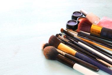 top view of Vintage Make Up set. filtered image.