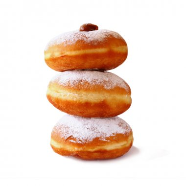 image of donuts. isolated on white. jewish holiday Hanukkah symbol.