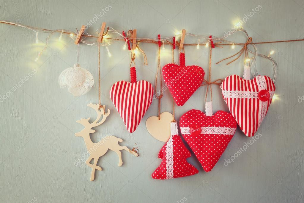 Weihnachten-Stoff-Herzen — Stockfoto © tomert #87080732