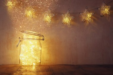 fairy lights in mason jar