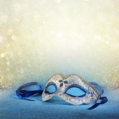 blue female carnival mask