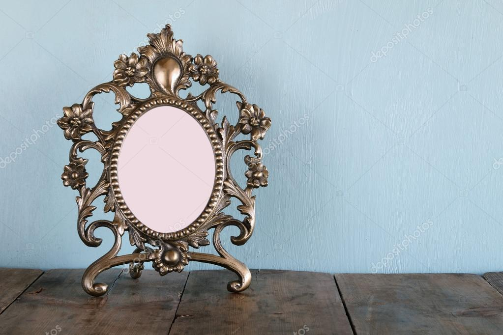 Antique Blank Victorian Style Frame On Wooden Table Retro Filtered
