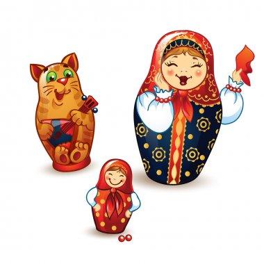 Dancing Russian dolls and balalaika.
