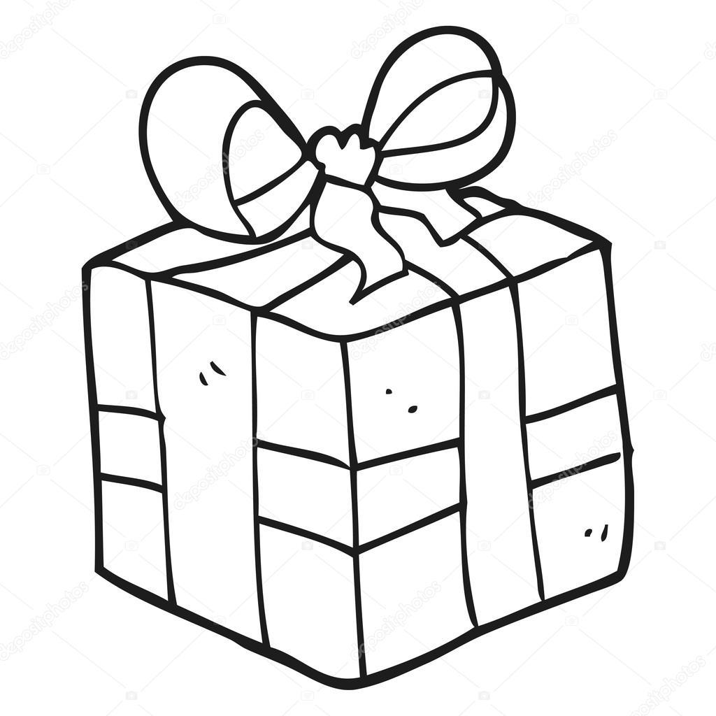 Dessin Anime Noir Et Blanc Cadeau De Noel Image Vectorielle