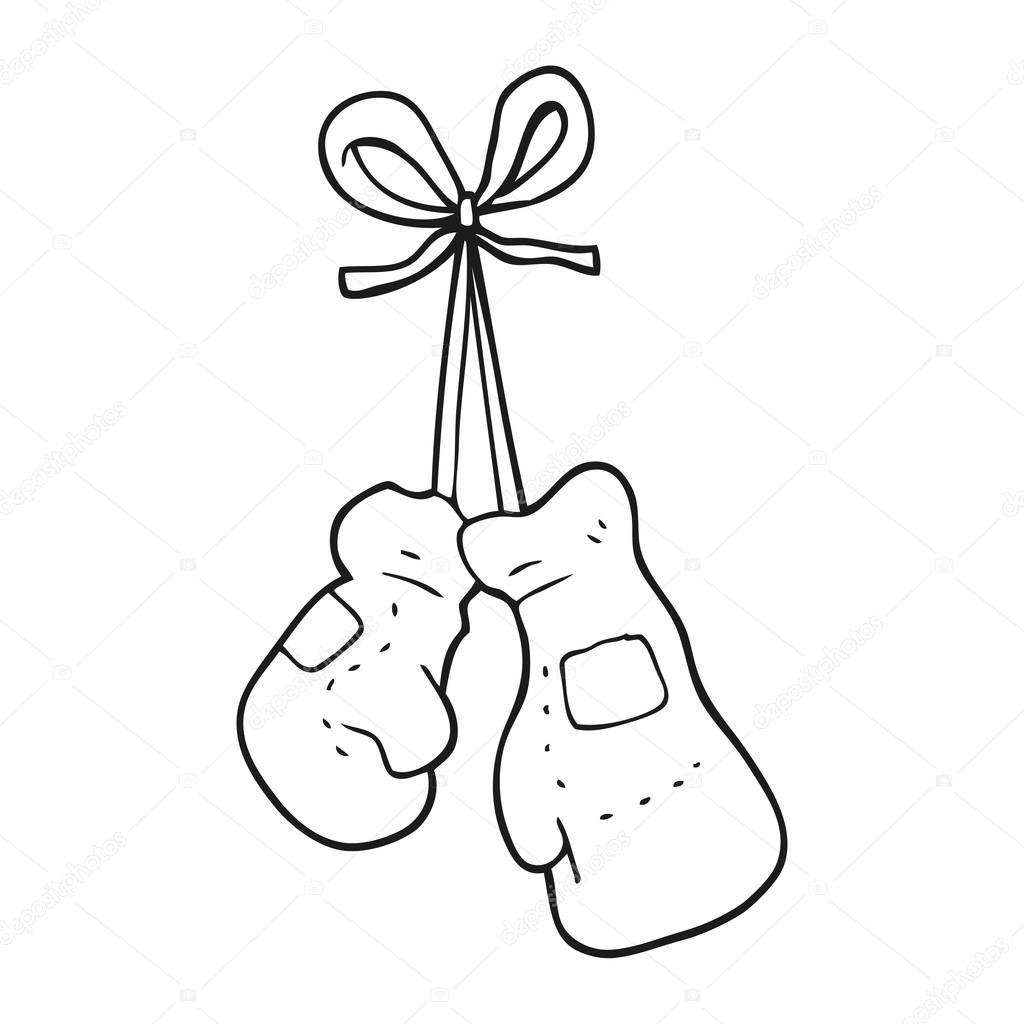 guantes de boxeo blanco y negro de dibujos animados archivo