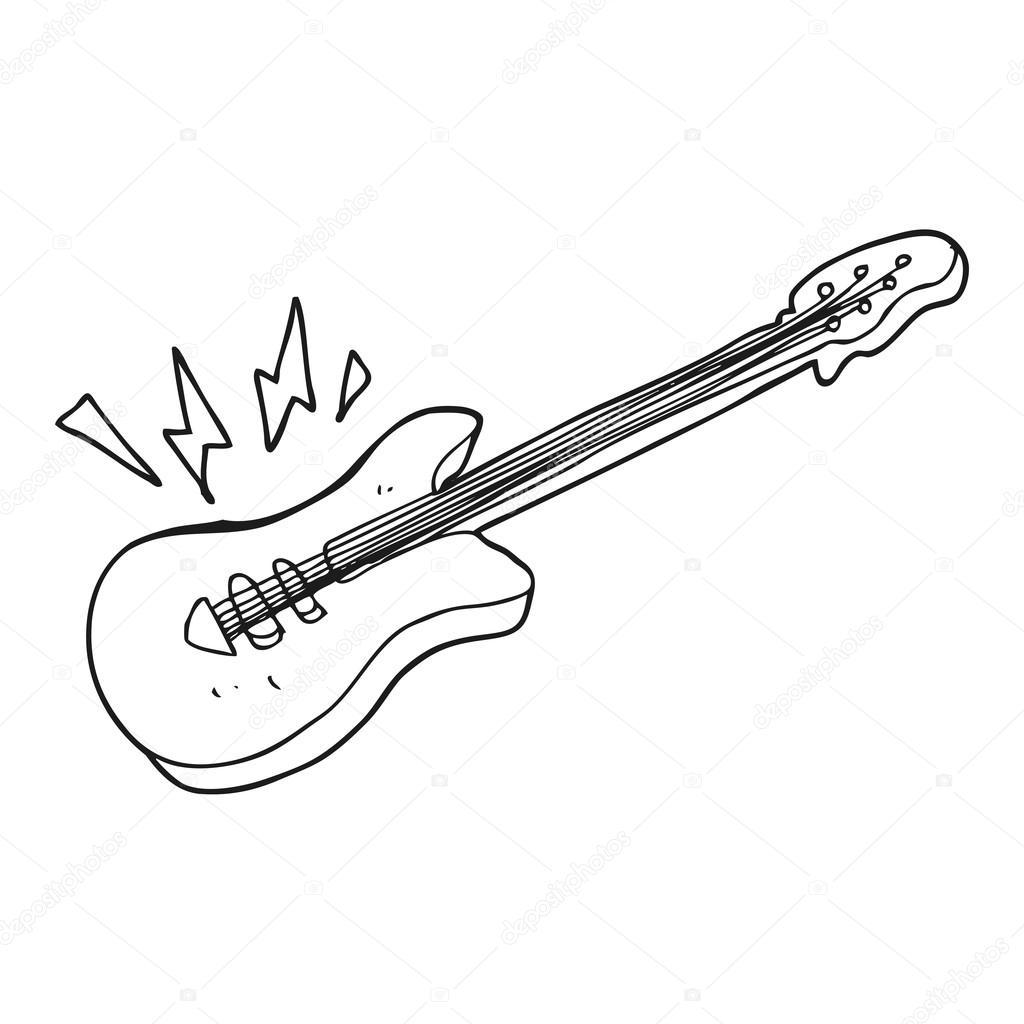 Siyah Beyaz çizgi Film Elektro Gitar Stok Vektör Lineartestpilot