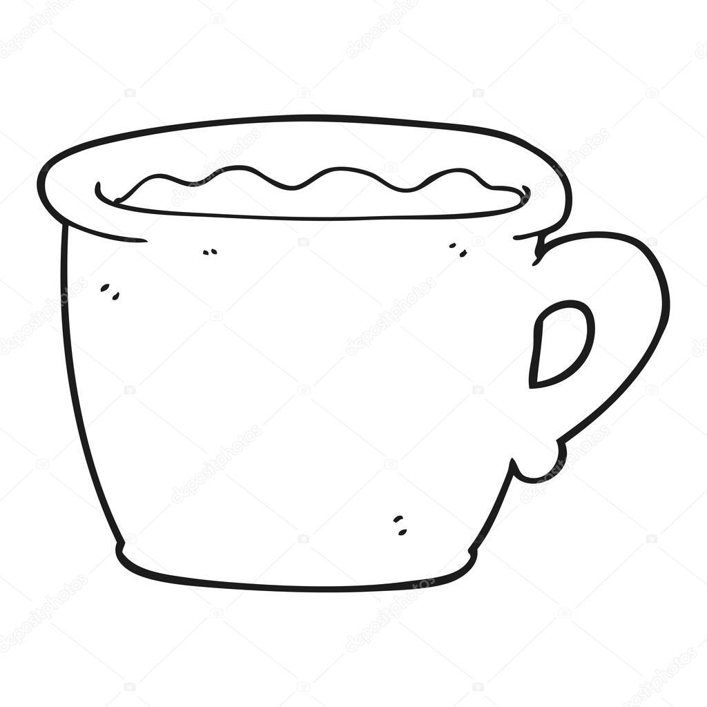 antigua taza de café blanco y negro de dibujos animados — Vector de ...