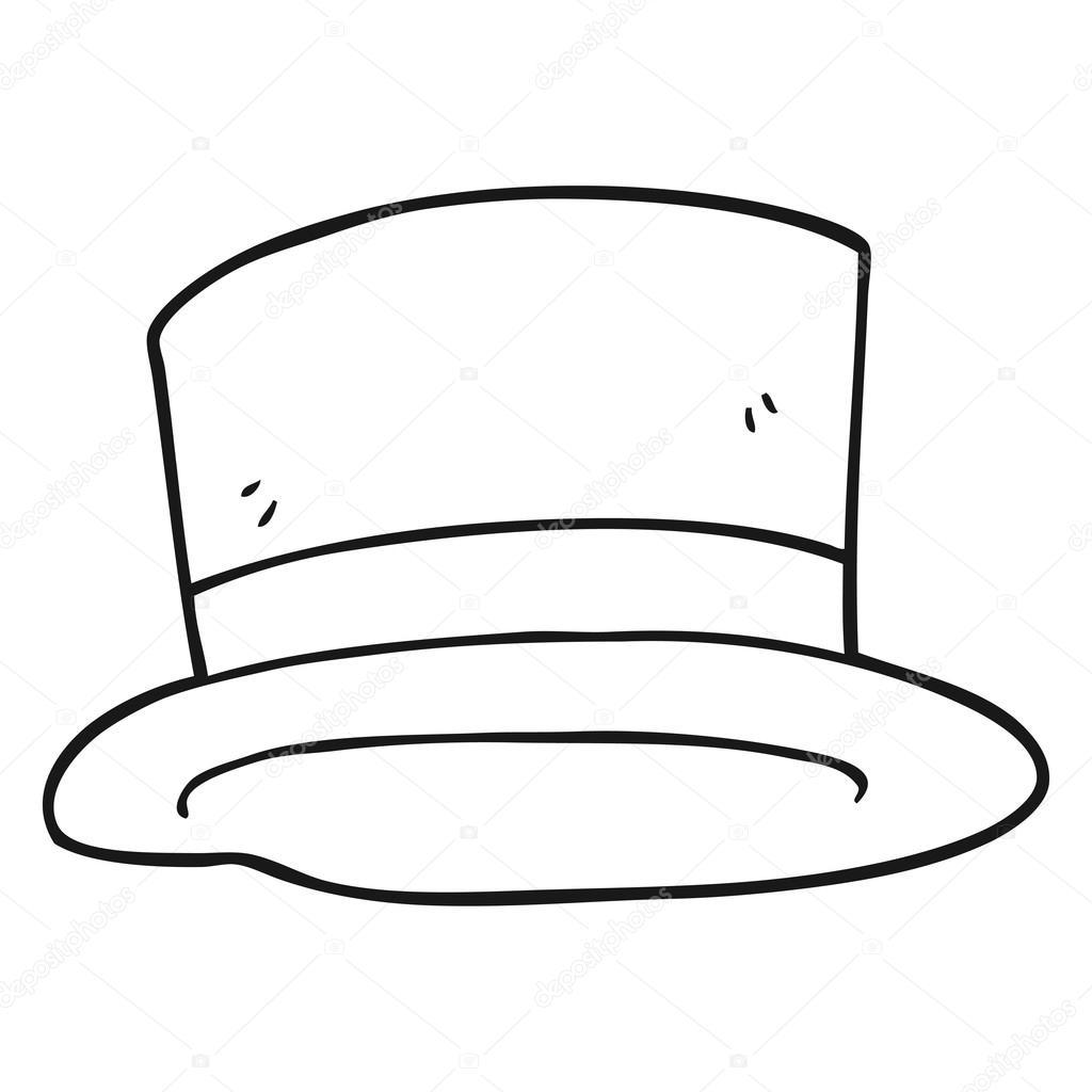 bianco e nero buffo cappello a cilindro — Vettoriali Stock ... effa02e1ced5