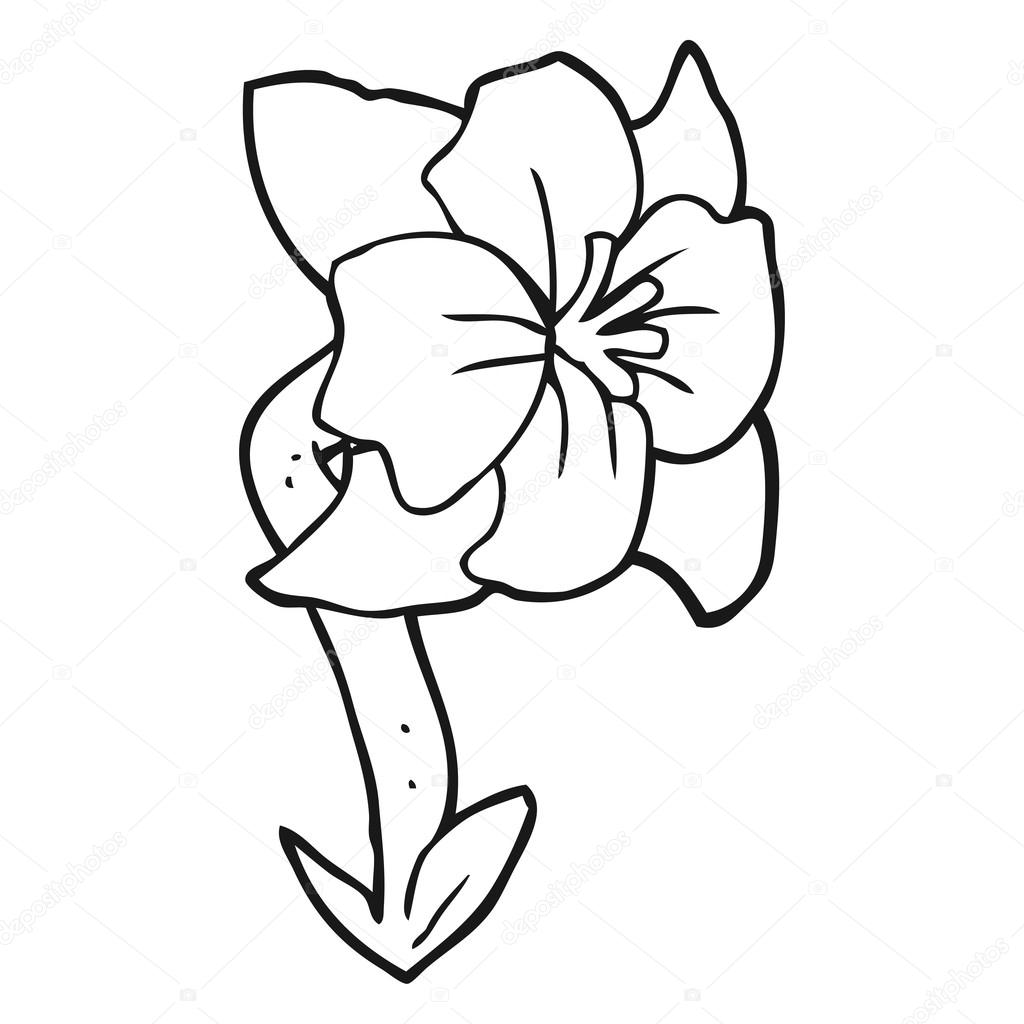 Black And White Cartoon Flower Stock Vector