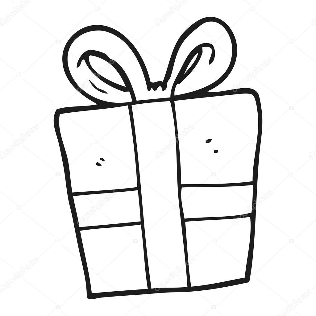 Cadeau De Noël Dessin Animé Noir Et Blanc Image