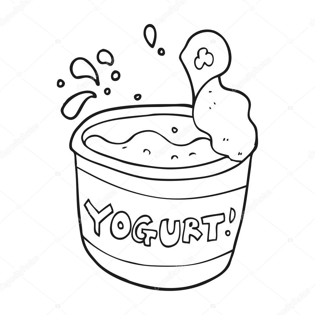 Yogur Blanco Y Negro De Dibujos Animados Vector De Stock