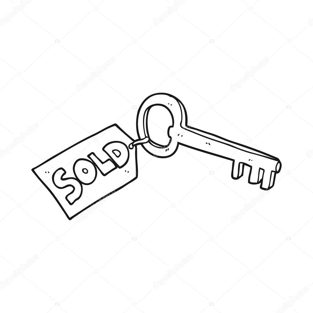 Dessiné à main levée nouvelle clé de maison dessin animé noir et blanc vecteur par