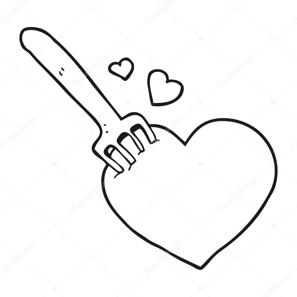 Heart Cartoon Black And White Black And White Cartoon Fork In