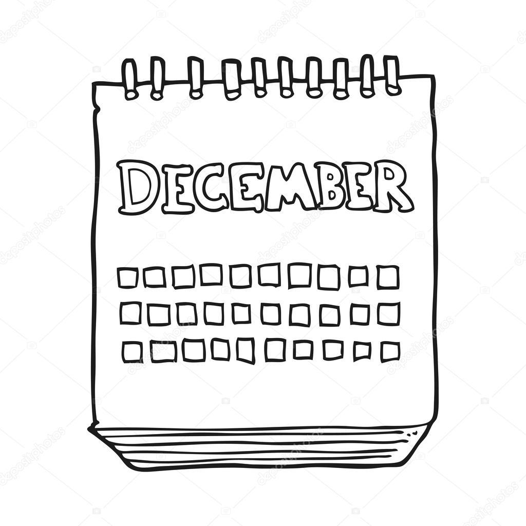 Calendario Dibujo Blanco Y Negro.Mes De Mostrar Dibujos Animados Blanco Y Negro De Diciembre