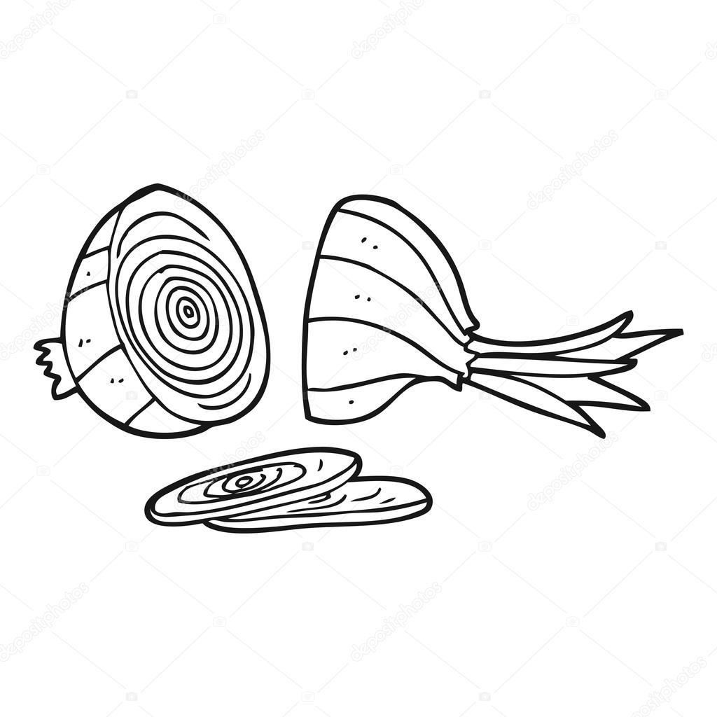 dibujos animados blanco y negro cebolla rebanada — Archivo Imágenes ...