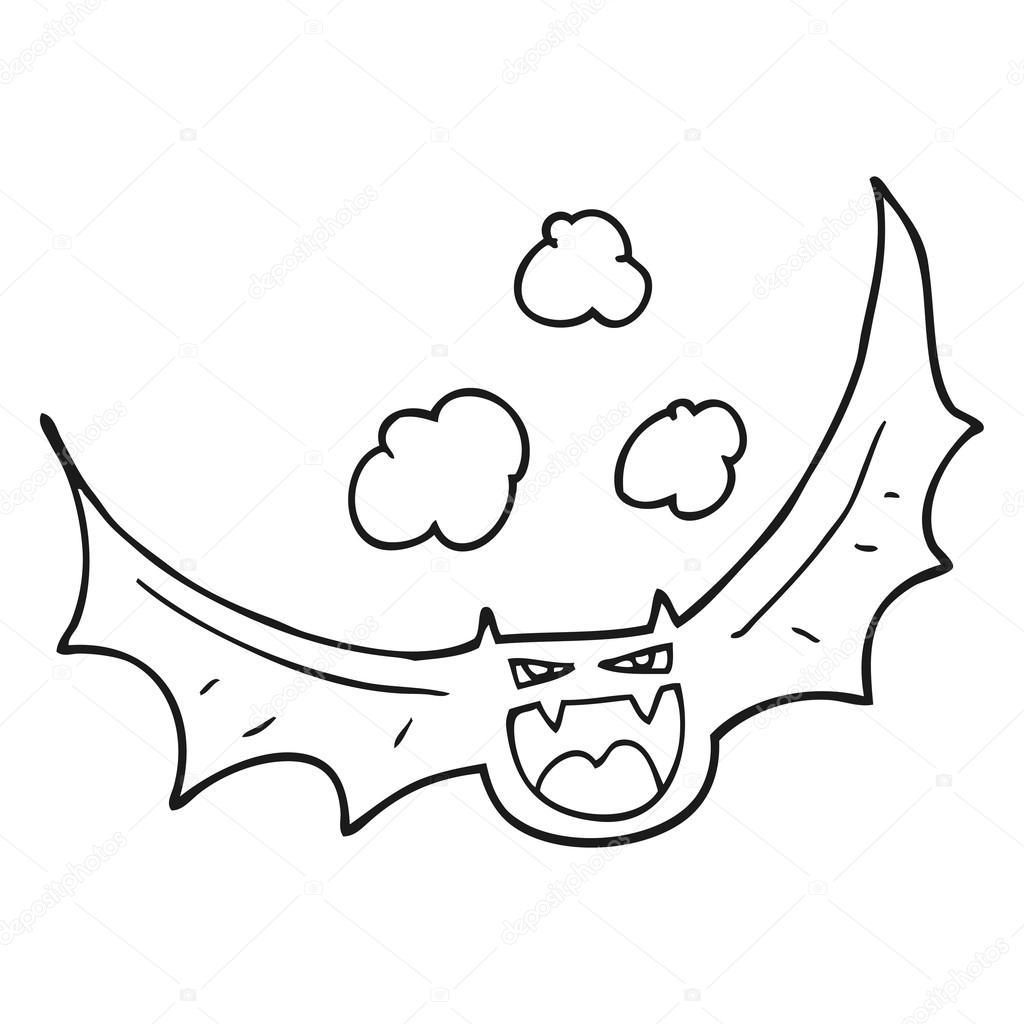 murciélago de halloween de dibujos animados blanco y negro — Archivo ...