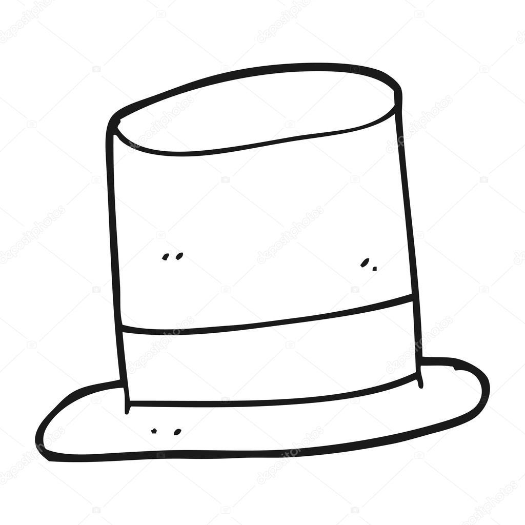 Sombrero de copa blanco y negro de dibujos animados archivo im genes vectoriales - Dessin de chapeau de magicien ...