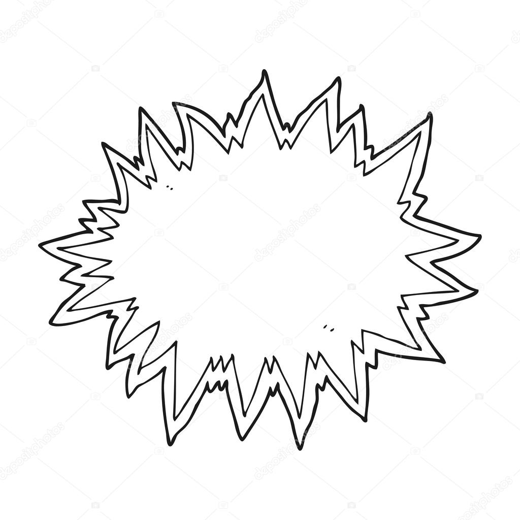 Black And White Cartoon Explosion Sign Stock Vector