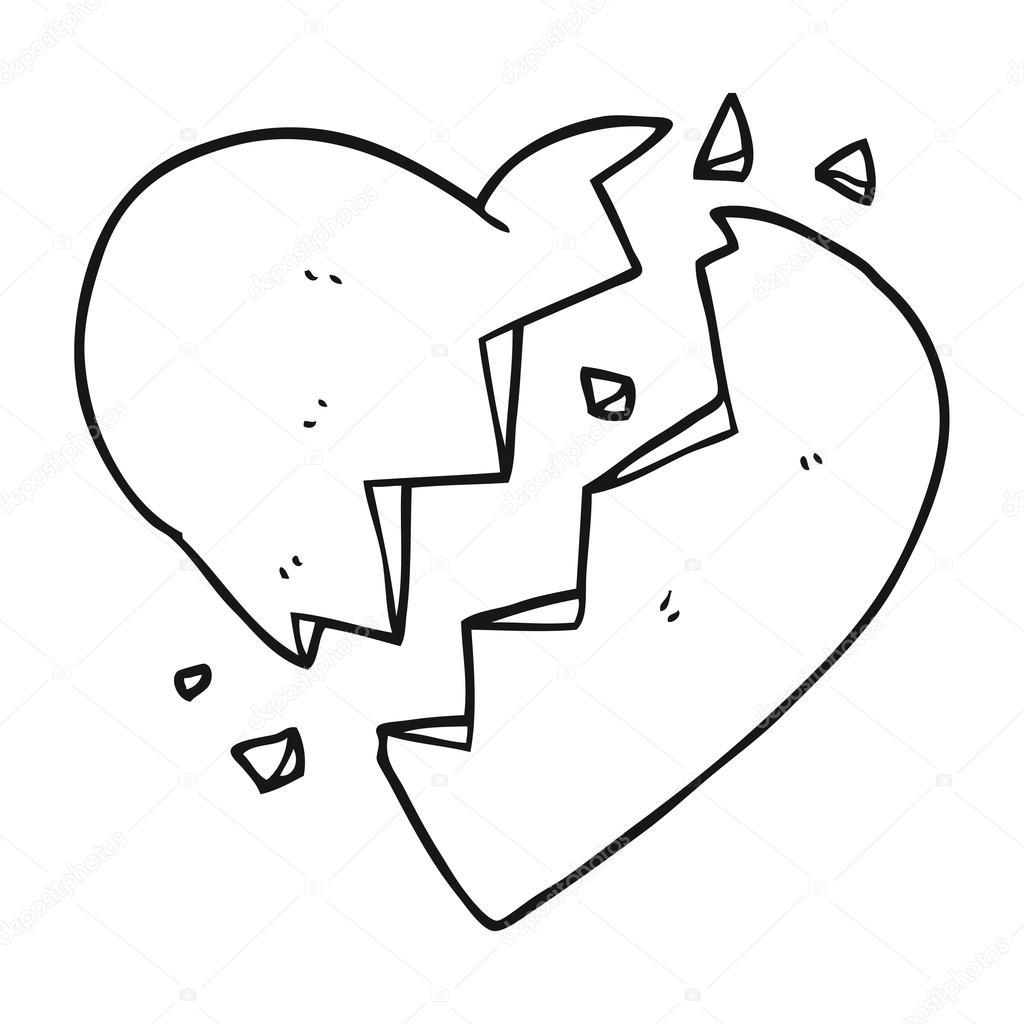 blanco y negro dibujos animados de corazón roto — Archivo Imágenes ...