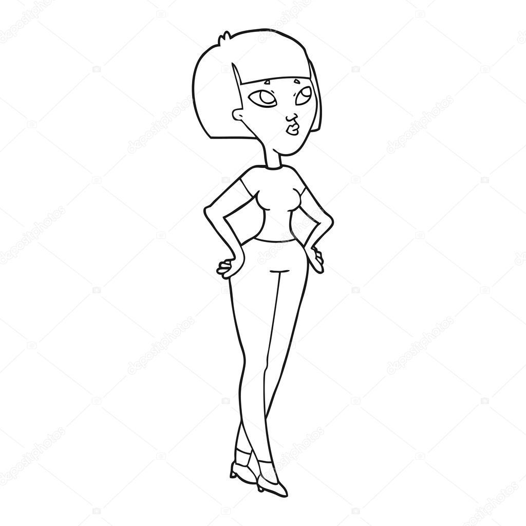 Femme Dessin Animé Noir Et Blanc Image Vectorielle